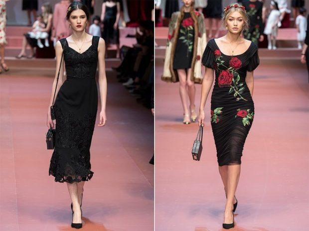 платье по колено черное кружевное черное в цветы