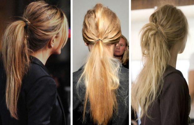 укладка волос: хвосты низкие