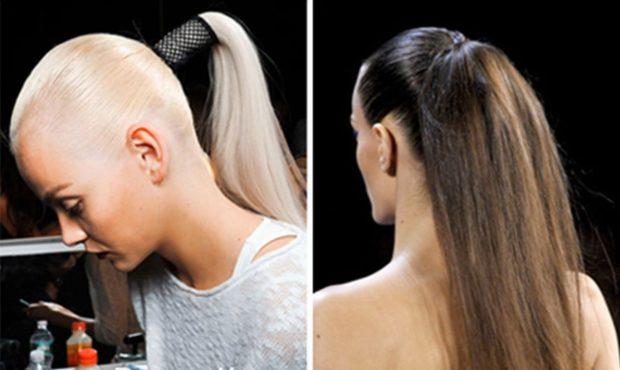 укладка волос: гладкие высокие хвосты