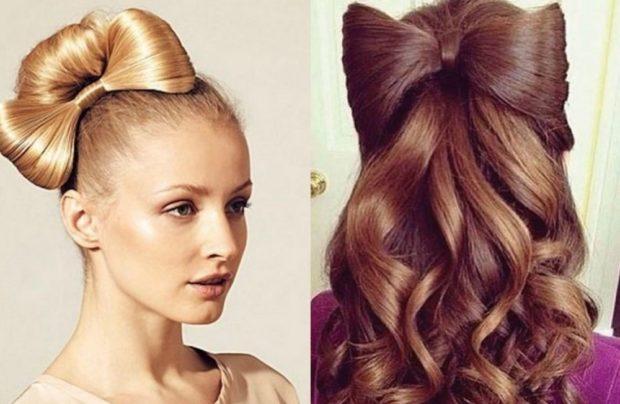 укладка волос фото: бант сбоку сзади