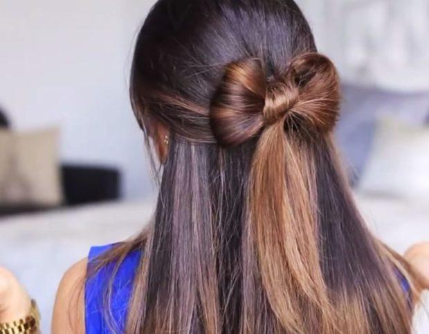 укладка волос фото: бант маленький