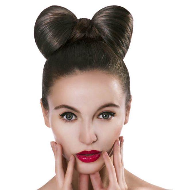 укладка волос фото: бант по центру головы идеально ровный