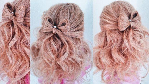 тренды укладки волос: бант маленький