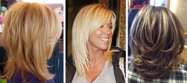 тренды укладки волос: каскад на среднюю длину объемный