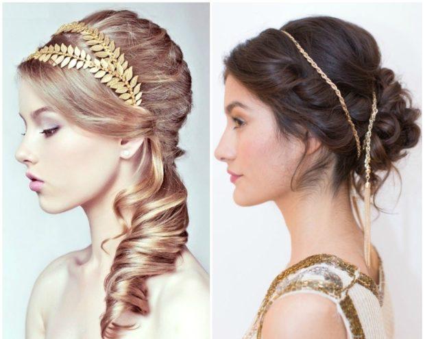 укладки модные тенденции фото: греческая на длинные волосы с золотым украшением