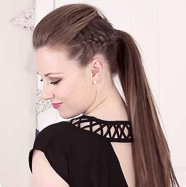 укладка волос 2019-2020 фото: хвост по бокам косички челка наверх