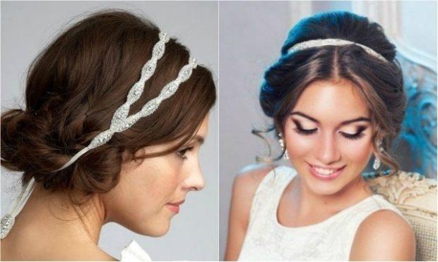 укладки: греческая собранные волосы с украшением