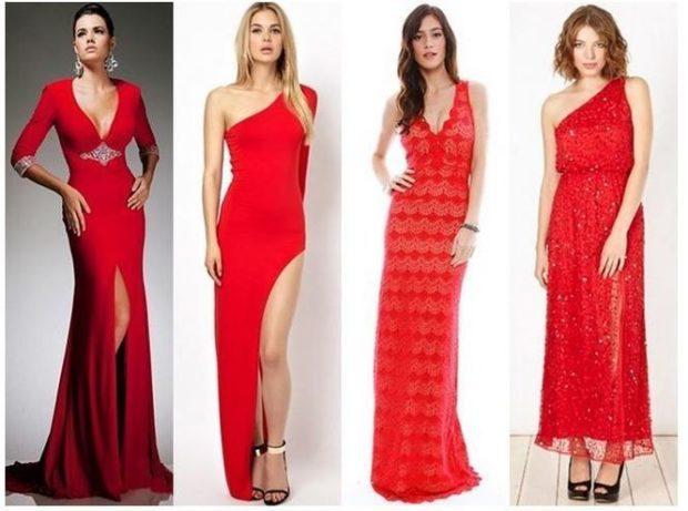 вечерние платья 2019-2020 фото новинки: алые длинные с разрезами с длинными рукавами