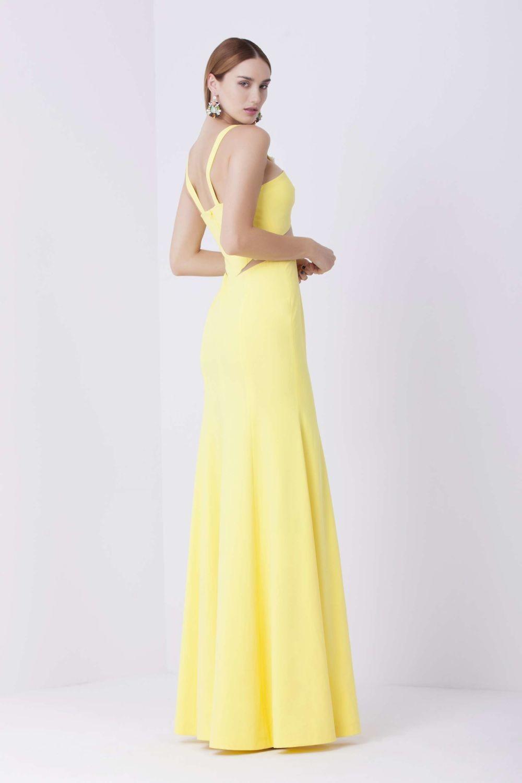 вечернее лимонное стильное платье 2018 года на тонких лямках в пол тенденции фото