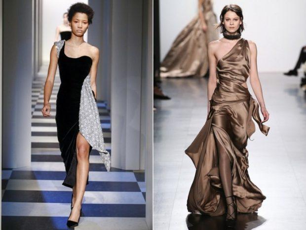 вечерние платья 2019-2020: модные черно-белое коричневое одно плечо открыто