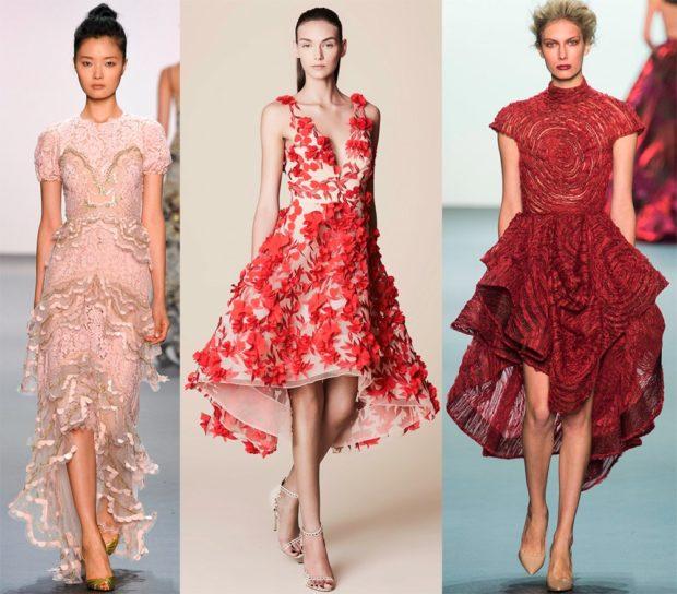 новые вечерние платья 2019-2020: маллет розовое бежевое с красными цветками красное