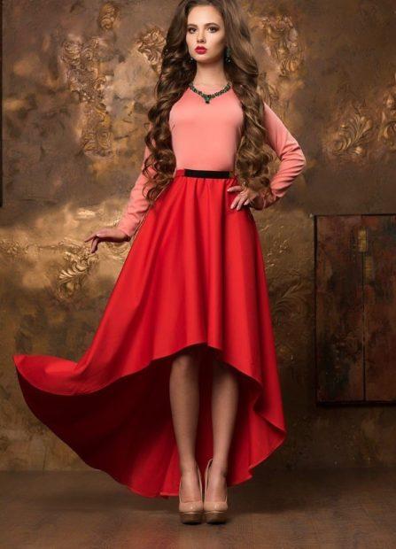 новые вечерние платья 2018 2019: маллет красный низ верх розовый
