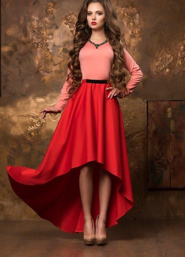 новые вечерние платья 2019-2020: маллет красный низ верх розовый