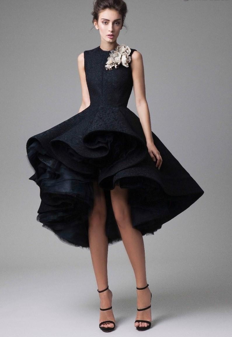модное вечернее платье 2018 года маллет черное пышная юбка без рукава тенденции фото новинка