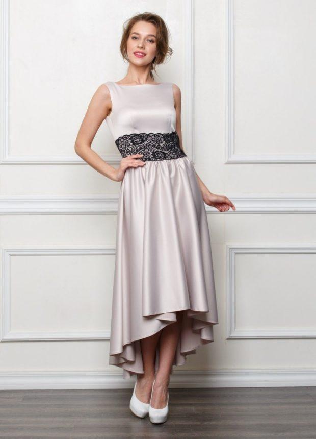 новые вечерние платья 2019-2020: миди маллет светло-серое