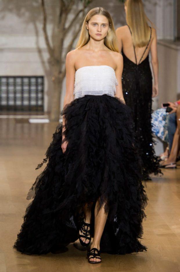 вечерние платья 2019-2020 новинки: маллет бюстье черный низ белый верх тенденции фото