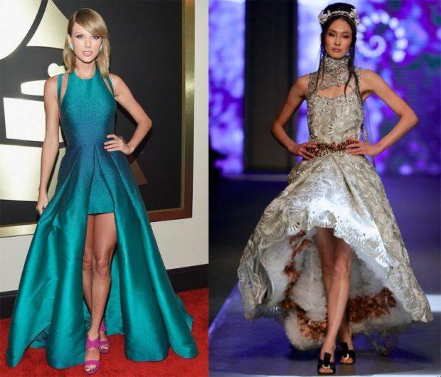 вечерние платья 2019-2020 новинки: малетт длинные зеленое серое тенденции фото