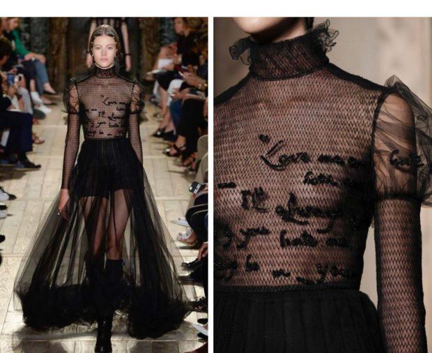 модное вечернее платье черное прозрачное в пол 2018 года тенденции фото новинка