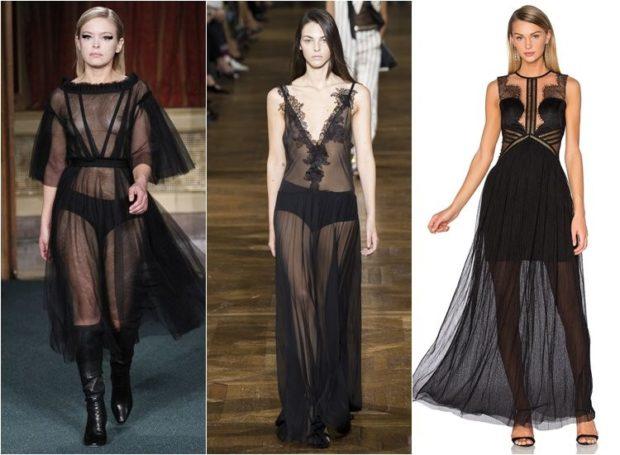 вечерние платья 2019-2020 новинки: черные прозрачные с рукавом без тенденции фото