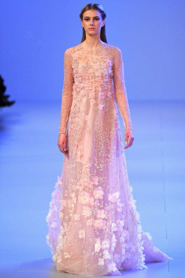 вечерние платья 2019-2020 новинки: прозрачное персиковое длинное