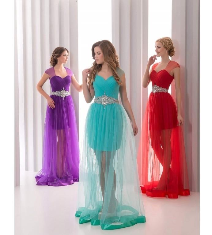 новинки вечерних платьев 2019-2020: с прозрачной юбкой бирюзовое фиолетовое красное без рукавов