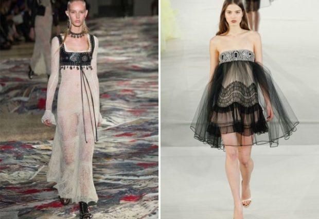 новинки вечерних платьев 2019-2020: прозрачные белое длинное с кожаной вставкой черное пышное