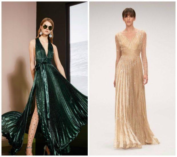 вечерние платья 2019-2020: модные зеленое без рукава плиссе бежевое