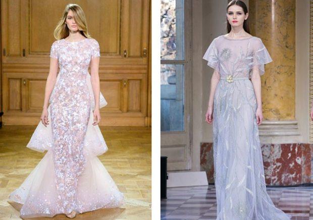 новинки вечерних платьев 2019-2020: модные прозрачные белое серое в пол тенденции фото