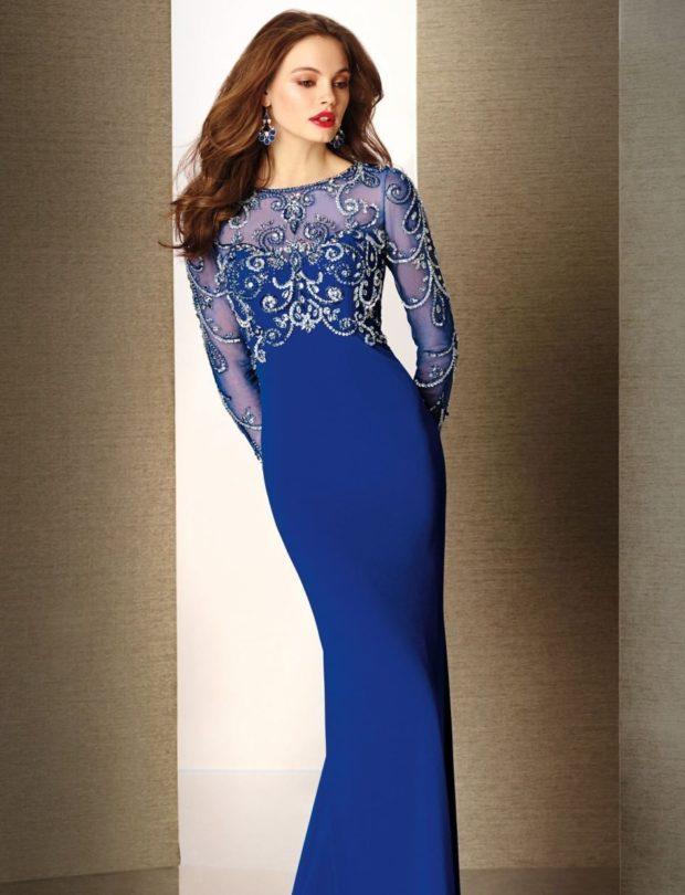 новинки вечерних платьев 2019-2020: модное синее рукав прозрачный длинный