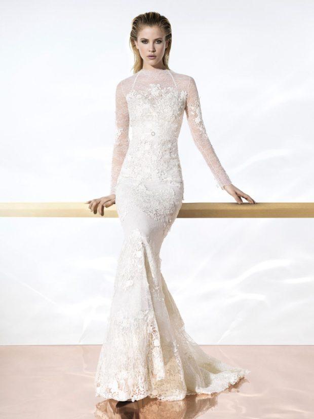 новинки вечерних платьев 2019-2020: модное белое длинное рукав прозрачный тенденции фото
