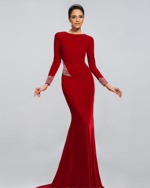 новинки вечерних платьев 2018 2019: модное красное рукав длинный тенденции фото