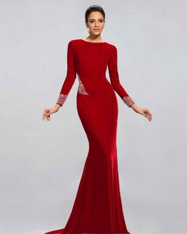 новинки вечерних платьев 2019-2020: модное красное рукав длинный тенденции фото