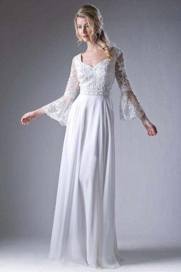 новинки вечерних платьев 2019-2020: модное белое рукав колокол прозрачный