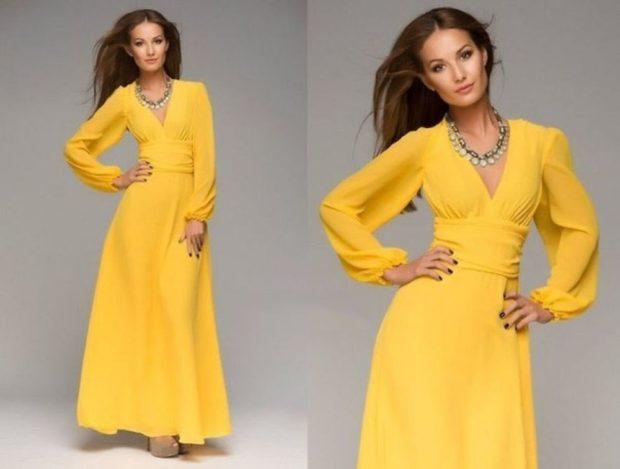 вечерние платья мода 2019-2020: желтое рукава-колокола