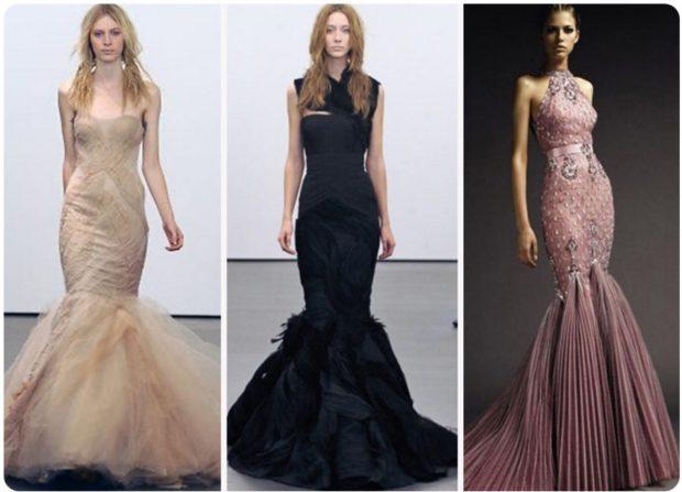 вечерние платья мода 2019-2020: русалка бежевое черное розовое без рукава новинки тренды