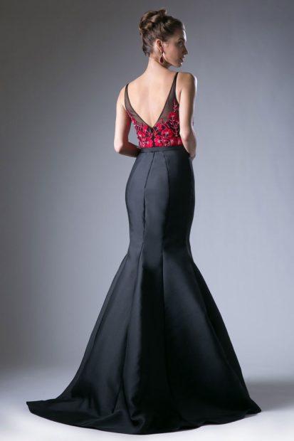 модное вечернее платье 2018 2019 года русалка черный низ спина открыта тенденции