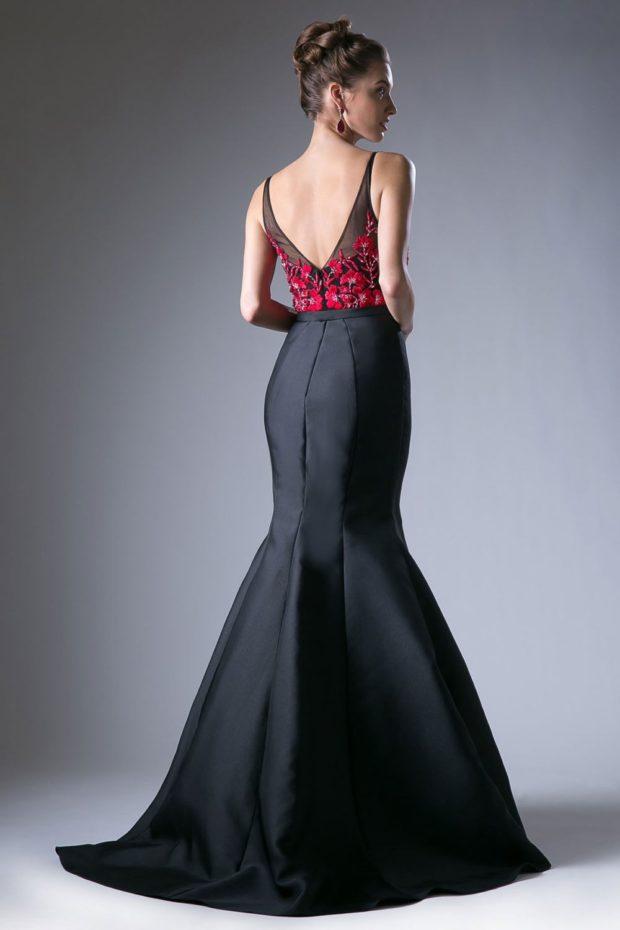 модное вечернее платье 2019-2020 года русалка черный низ спина открыта тенденции