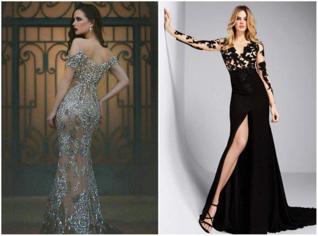 вечерние платья 2019-2020: модное прозрачное с серебристыми вензелями черное с разрезом и кружевом