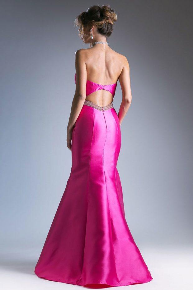 вечерние платья мода 2019-2020: русалка розовое спина открыта