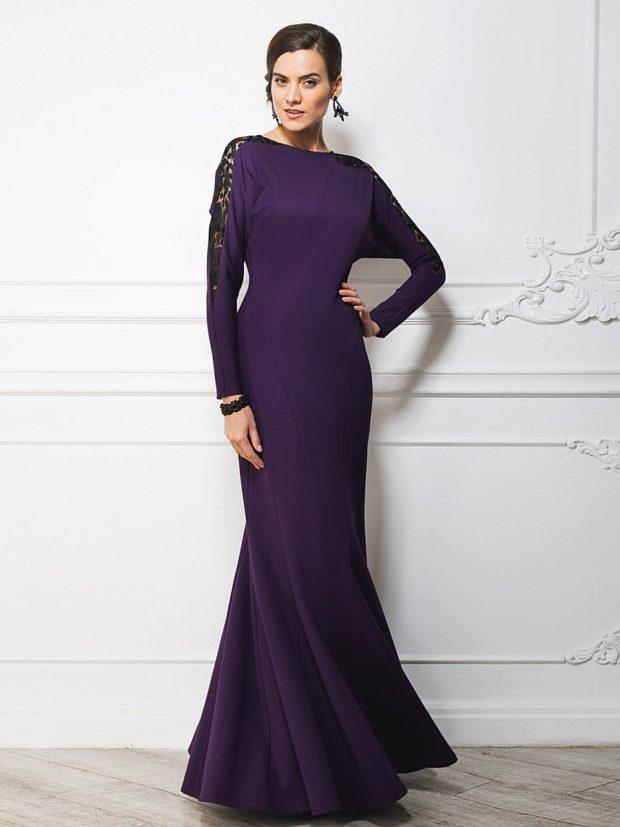 вечерние платья мода 2019-2020: русалка темно-фиолетовое фото
