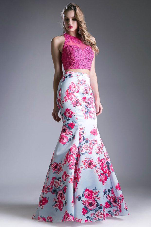вечерние платья мода 2019-2020: русалка в цветы