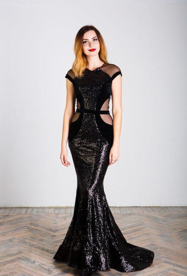 вечерние платья: русалка черное без рукава года тенденции фото