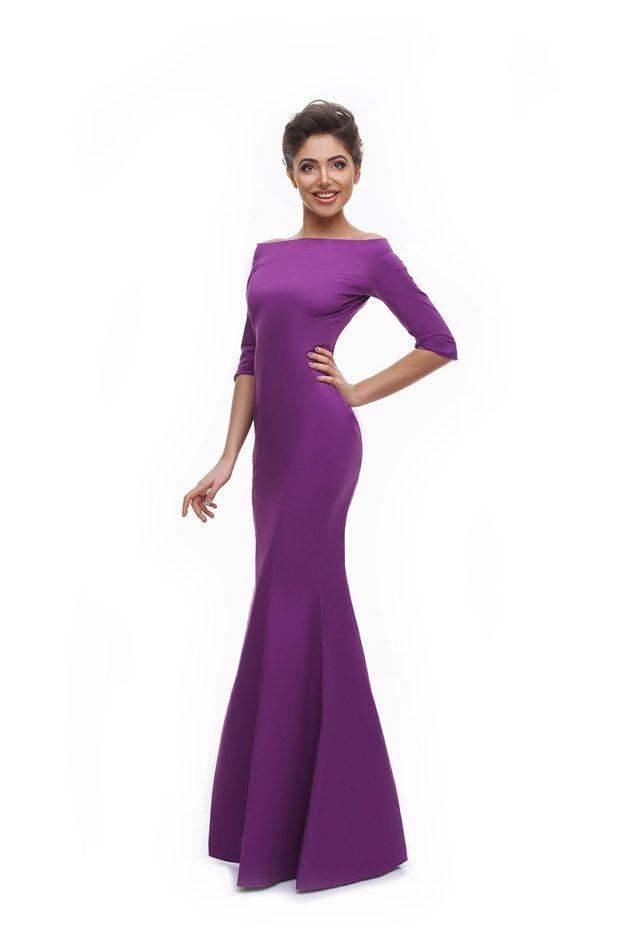 вечерние платья: русалка фиолетовое рукав длинный тенденции