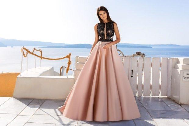 вечерние платья 2019-2020: юбка розовая верх черный кружевной