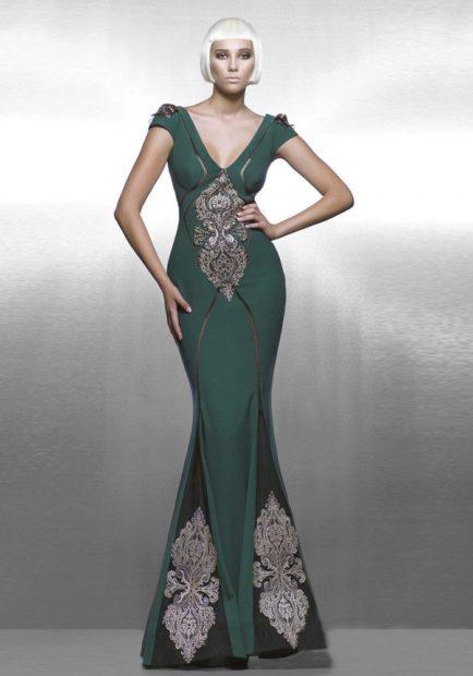 вечерние платья мода 2018 2019: русалка зеленое с рисунками
