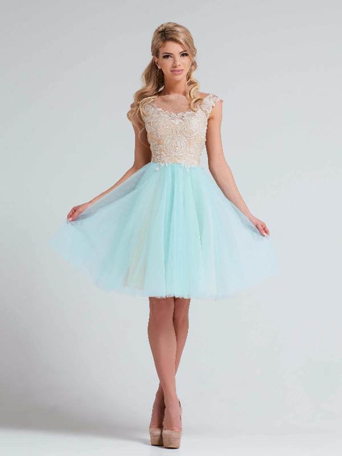 модное вечернее короткое платье 2018 юбка шифон голубое верх белый тенденции тренды фото новинки