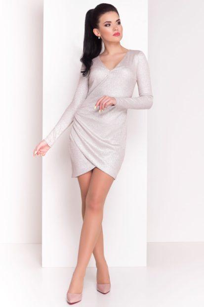 короткое вечернее платье 2018 2019: белое рукав длинный