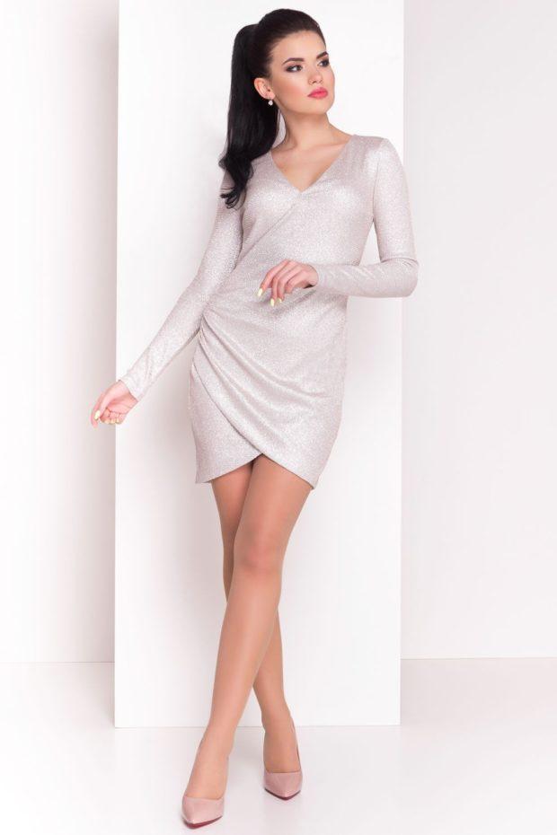 короткое вечернее платье: белое рукав длинный