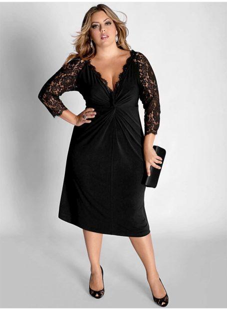 вечерние платья 2018 2019 модные тенденции: черное миди с рукавом кружевном