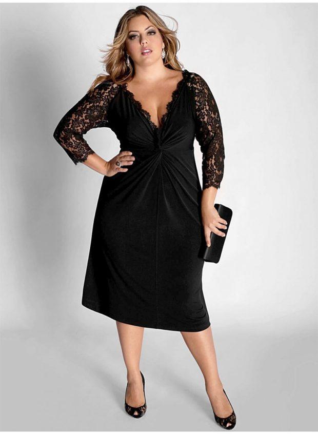 вечерние платья: черное миди с рукавом кружевном